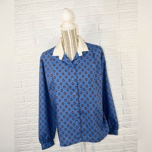 Vtg Manor Park by Cos Cob Patterned Collared Shirt